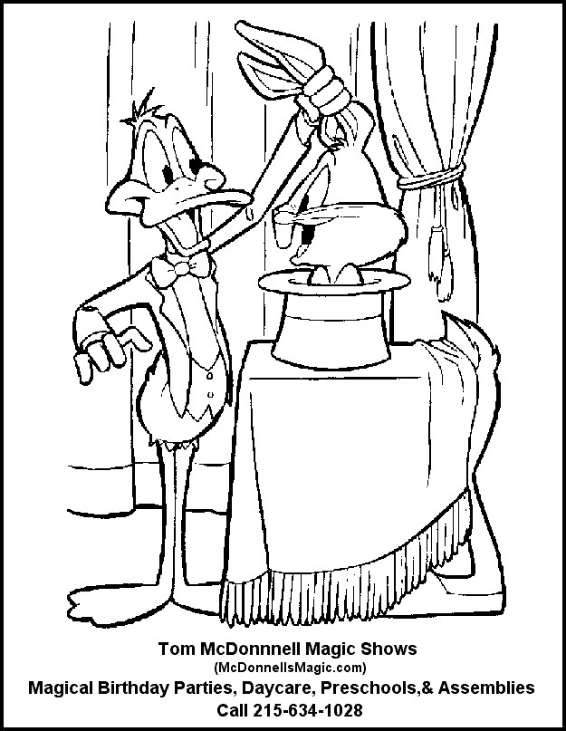 Bugs Bunny And Daffy Duck Coloring Page M For Magician